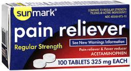Sunmark Pain Reliever - Regular Strength - 100 ct, Pack of 4