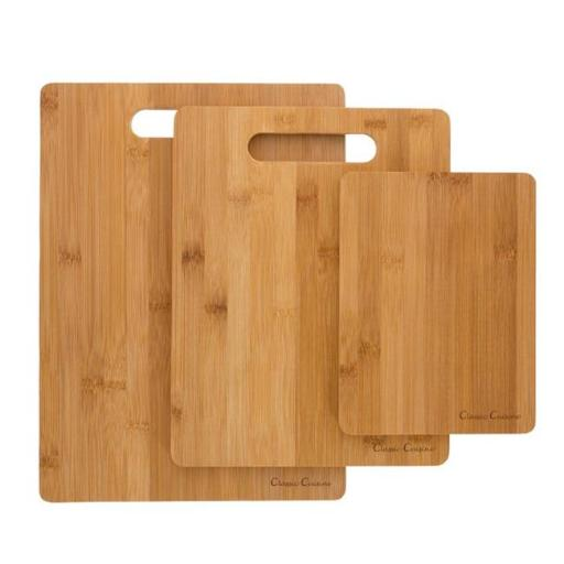 Classic Cuisine M030205 Bamboo Cutting Board Set Eco Friendly, Antimicrobial & Antibacterial Chopping & Serving Boards - 3 Piece