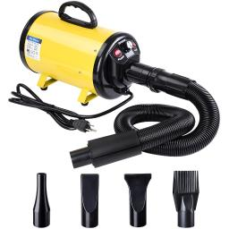 Yescom 2400W 3.2HP Pet Hair Dryer Quick Blower Heater Electrodeless Speed w/ 4 Nozzles Dog Cat Grooming Yellow