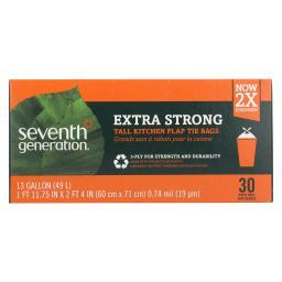 Seventh Generation Extra Strong Tall Kitchen Trash Bags - 13 Gallon - Case of 12 - 30 Count