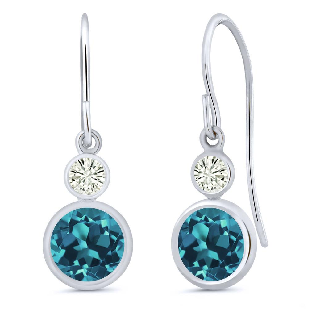 14K White Gold Dangle Earrings Round London Blue Topaz and Forever Classic Created Moissanite 0.20ct (DEW) by Charles & Colvard