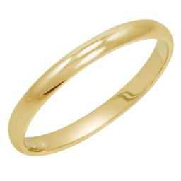 Women's 10K Yellow Gold 2mm Classic Fit Plain Wedding Band  (Available Ring Sizes 4-8 1/2)