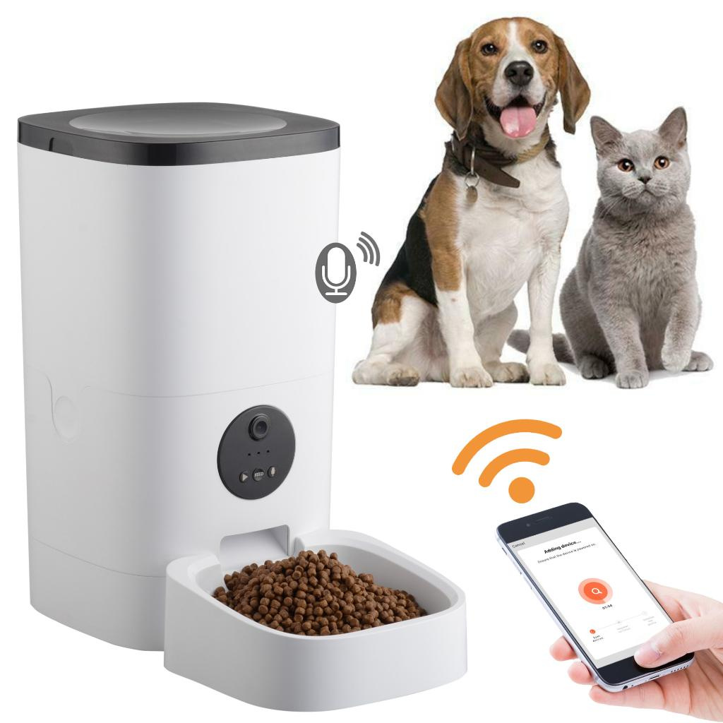 Yescom 6L Smart Automatic Pet Feeder 1080P Camera Voice Record Food Dispenser Dog Cat