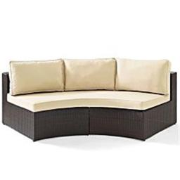 Crosley CO7120-BR Catalina Outdoor Wicker Round Sectional Sofa With Sand Cushions, Brown