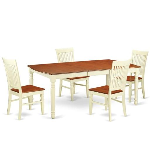 East West Furniture DOWE5-BMK-W Kitchen Table Set with a Kitchen Table & 4 Wood Seat Dining Chairs, 5 piece - Buttermilk & Cherry