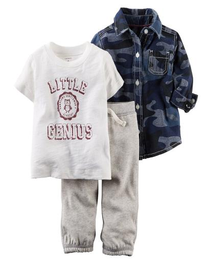 Carter's Baby Boys' 3 Piece Camo Little Genius Button Shirt Pants Set (3 Mos.)