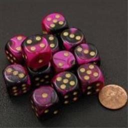 Chessex Manufacturing 26640 D6 Cube Gemini Set Of 12 Dice, 16 mm - Black & Purple With Gold Numbering