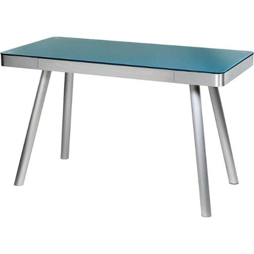 Comfort Products 50-JN1407 Glass Writing Desk with Brushed Aluminum Frame - Cool Blue