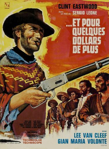 For A Few Dollars More Left: Clint Eastwood On French Poster Art 1965. Movie Poster Masterprint