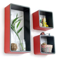 Vibrant Melody Rectangle Leather Wall Shelf / Floating Shelf (Set of 3)