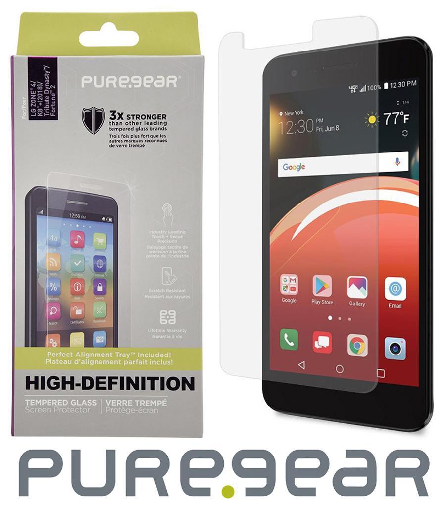 PureGear Tempered Glass Screen Protector for LG Zone 4, Risio 2/3, Rebel  4/3/2