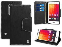 BLACK WALLET CREDIT CARD CASH ID CASE COVER STAND FOR LG Escape-2/Spirit/Logos