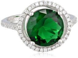 Sterling Silver Green and White Cubic-Zirconia Round Shape Ring, Size 6