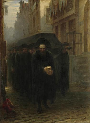 A Jewish Funeral, By Hein Burgers, C. 1860-1880, Dutch Painting, Oil On Canvas. A Funeral Procession In A Narrow City Street Led By A Man With A.