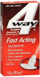 4 Way Fast Acting Nasal Spray - 1 oz, Pack of 4