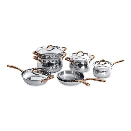 Berghoff 1111004 Ouro 18 - 10 Stainless Steel Cookware Set with Rose Gold Coated Handles - 11 Piece