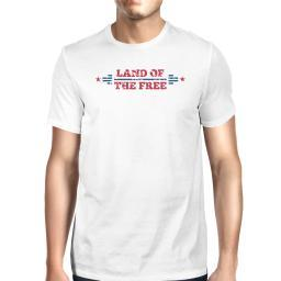 Land Of The Free American Flag Shirt Mens White Graphic T-Shirt
