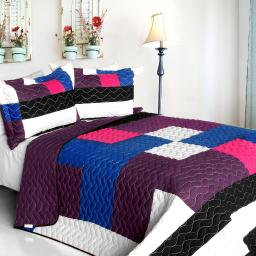 Sideman 3PC Vermicelli - Quilted Patchwork Quilt Set (Full/Queen Size)