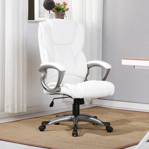 Belleze Executive Office Chair Padded Leather Seat Swivel Task Computer Adjustable Height, White
