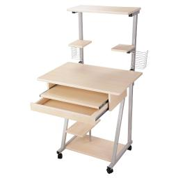 Yescom Mobile Computer Desk Tower Printer Shelf Laptop Rolling Table Study Home Office