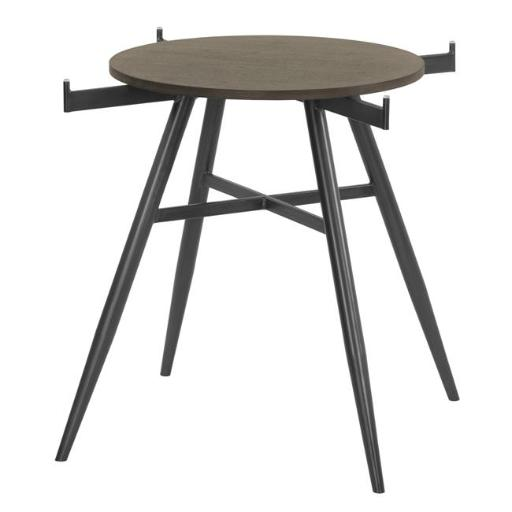 Armen Living LCDADIMFGWBS Davis Contemporary Round Dining Table, Mineral with Clear Tempered Glass Top