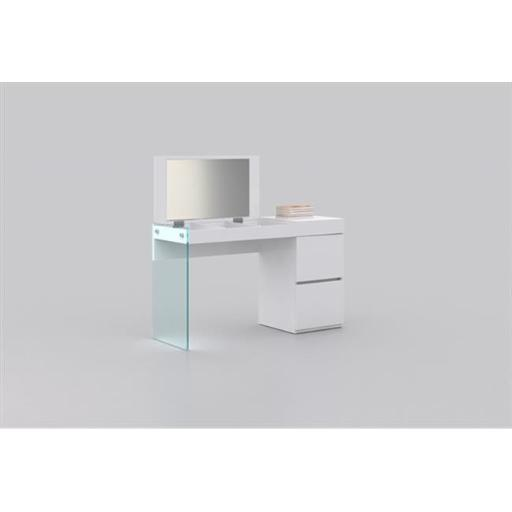 Casabianca Furniture CB-111-W-Vanity Il Vetro Vanity Desk - White High Gloss & Mirror