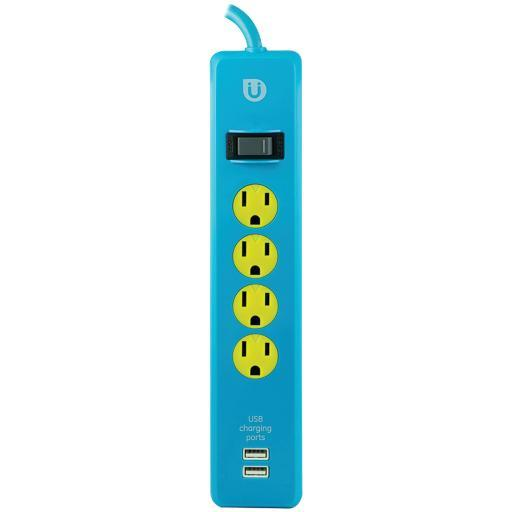 Uber 25117 Uber(Tm) 4-Outlet Power Strip With 2 Usb Ports, 4Ft Cord (Blue & Yellow)