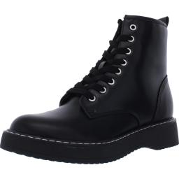 Steve Madden Womens Britton Leather Round Toe Lace-Up Boot