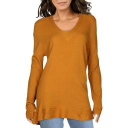 Cyrus Womens Textured Banded Bottom V-Neck Sweater
