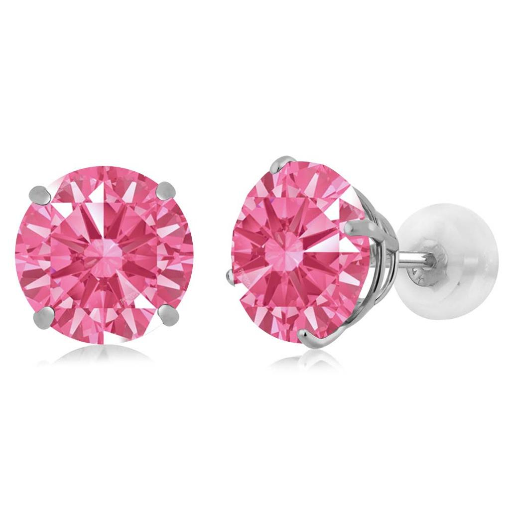 14K White Gold  Earrings Set with Round Fancy Pink Zirconia from Swarovski