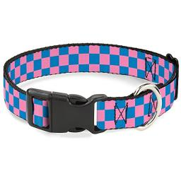 "Buckle-Down Plastic Clip Collar - Checker Black Pink - 1 2"" Wide - Fits 9-15"" Neck - Large"