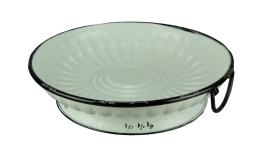 Black and White Metal Vintage Round Decorative Bowl With Handle