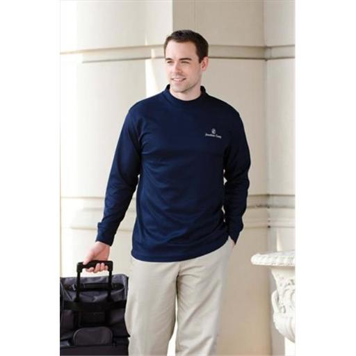 Whispering Pines Sportwear 401 Long Sleeve Performance Mock Shirt Turtleneck, Navy, Extra Large