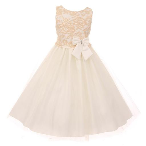Big Girls Champagne Dull Satin Lace Tulle Junior Bridesmaid Dress 8-12