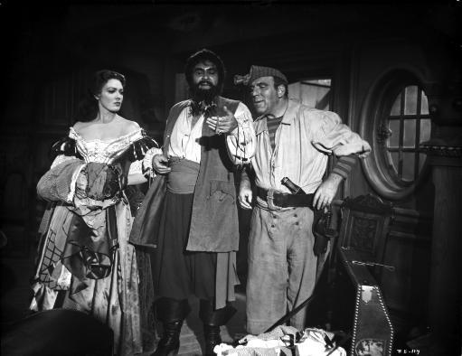 Linda Darnell posed with Two Man in Pirate Outfits in Black and White Photo Print FX2JBH2EGNZPUSVR