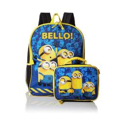 """Despicable Me """"bello Minions"""" 16-inch School Backpack W/ Removable Lunch Bag Set"""