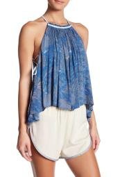 Free People OB587301 Season in the Sun Printed Lace-Up Top in Ocean Blue S