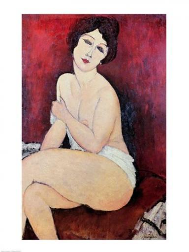 Large Seated Nude Poster Print by Amedeo Modigliani ONXTHHUBMEW7IE7S