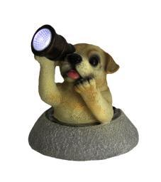 Adorable Solar Eyes Spyglass Labrador Puppy Dog LED Accent Light Statue