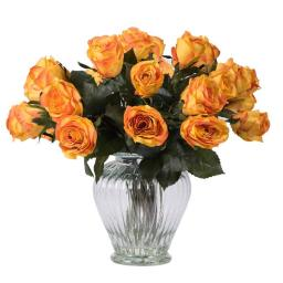 Vickerman F12185 Orange Rose Arrangement Everyday Floral - 16 in.