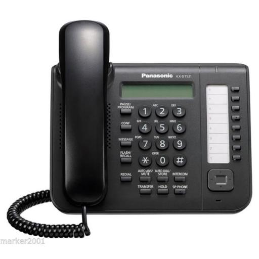 Panasonic Business Systems KX-DT521-B 8 Button 1-Line Backlit LCD Display Digital Telephone with Full Duplex Speaker Phone - Black