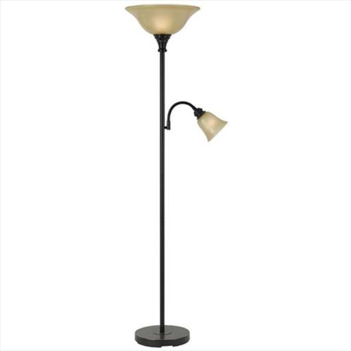 100 W Metal Torchiere Lamp With 60 W Reading Lamp, Dark Bronze Finish