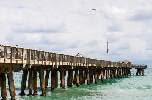 Fishing Pier at Pompano Beach, Broward County, Florida, USA Poster Print by Panoramic Images