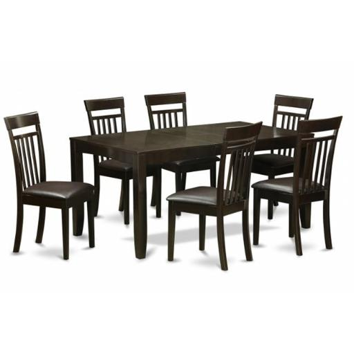 East West Furniture LYCA7-CAP-LC 7 Piece Dining Table Set-Table With Leaf and 6 Dining Room Chairs