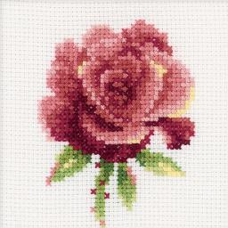 """Red Rose Counted Cross Stitch Kit-4""""X4"""" 14 Count H168"""
