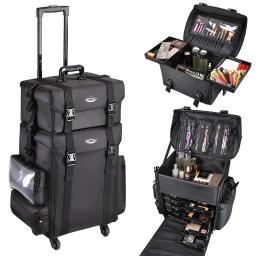"""AW Multifunction Artist Rolling 2in1 360 Degrees 4- wheels Makeup Case Cosmetic 15x11x25"""" Train Bag With Drawers & Strap"""