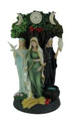 Polyresin Triple Goddess Maiden Mother and Crone Tree Statue WU77085AA