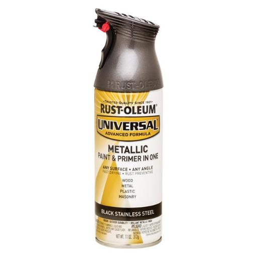 Rust-Oleum 1694355 11 oz Universal Black Stainless Steel Metallic Paint & Primer in One Spray Paint, Pack of 6