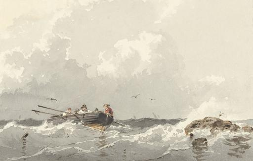 Row Boat At Sea, By Frans Arnold Breuhaus De Groot, Ca. 1840-70, Dutch Watercolor. Five Seamen In Small Boat Near A Rock Poster Print