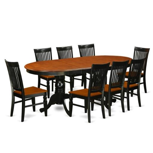 East West Furniture PLWE9-BCH-W Kitchen Table Set with a Dining Table & 8 Wood Seat Kitchen Chairs, 9 piece - Black & Cherry